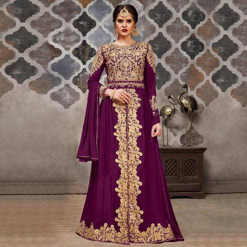 Demanding Purple Colored Partywear Embroidered Faux Georgette Anarkali Suit