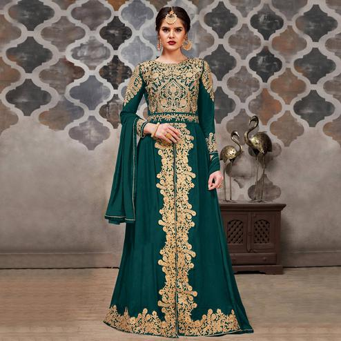 Refreshing Teal Green Colored Partywear Embroidered Faux Georgette Anarkali Suit