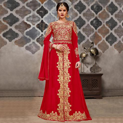 Magnetic Red Colored Partywear Embroidered Faux Georgette Anarkali Suit