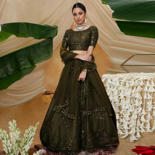 Flattering Olive Green Colored Designer Partywear Embroidered Net Lehenga Choli