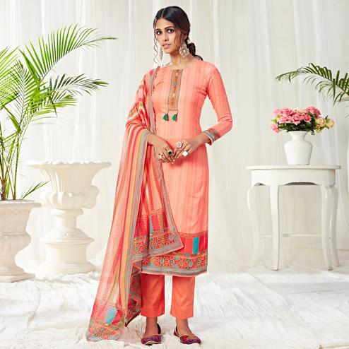 Marvellous Peach Colored Partywear Digital Printed Cotton Suit