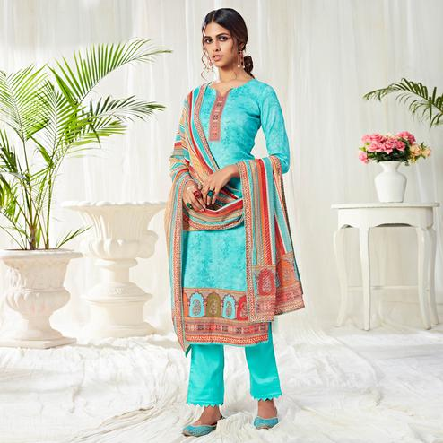 Flamboyant Auqa Blue Colored Partywear Digital Printed Cotton Suit