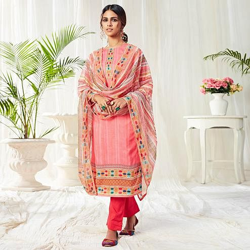 Pretty Pink Colored Partywear Digital Printed Cotton Suit