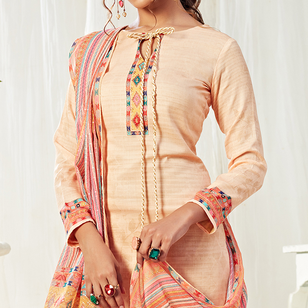 Alluring Beige Colored Partywear Digital Printed Cotton Suit