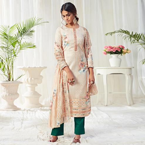 Flaunt Beige Colored Partywear Digital Printed Cotton Suit