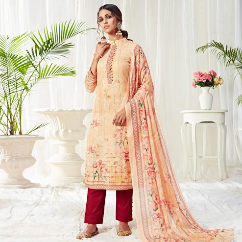 Stunning Light Orange Colored Partywear Digital Printed Cotton Suit