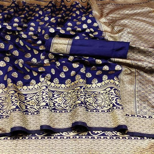 Glorious Navy Blue Colored Festive Wear Woven Banarasi Silk Saree