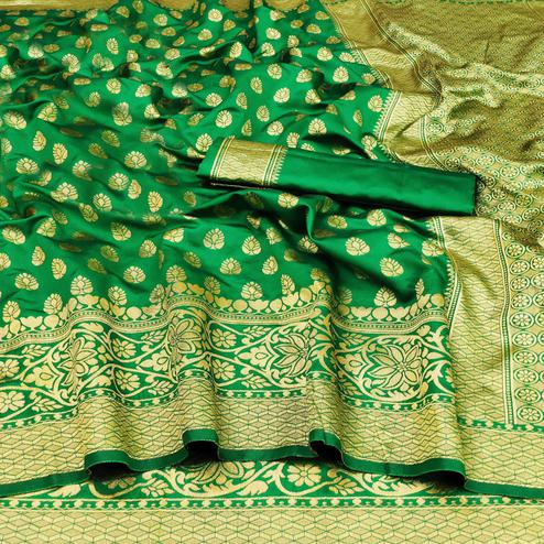 Attractive Green Colored Festive Wear Woven Banarasi Silk Saree