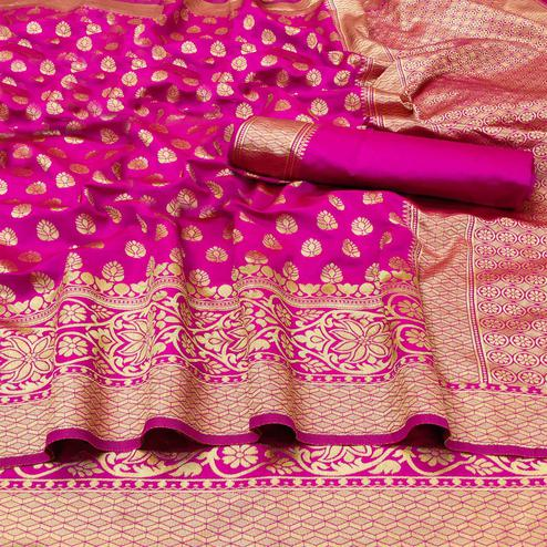 Graceful Pink Colored Festive Wear Woven Banarasi Silk Saree