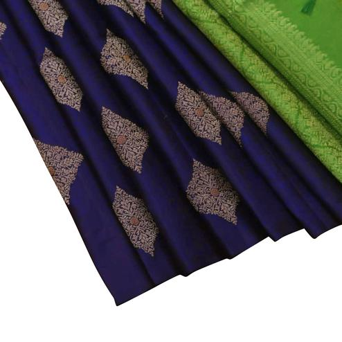 Energetic Green - Navy Blue Colored Festive Wear Woven Banarasi Silk Saree