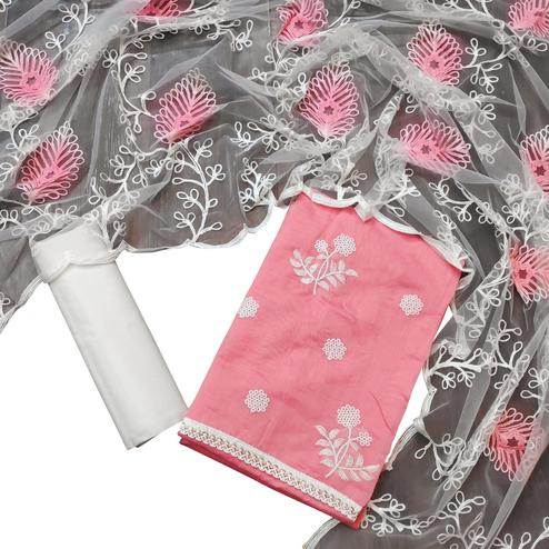 Mesmeric Pastel Pink Colored Partywear Embroidered Chanderi Cotton Dress Material