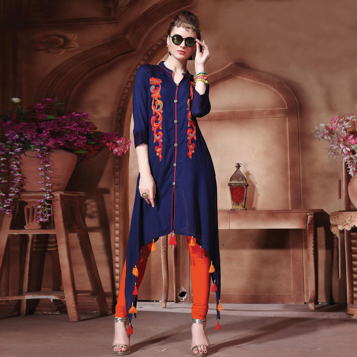 Stylish Navy Designer Embroidered Cotton Kurti