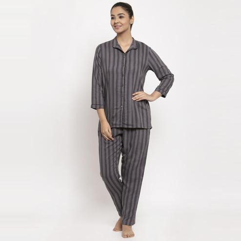 Aujjessa - Grey Black Colored Striped Printed Rayon Night Suit
