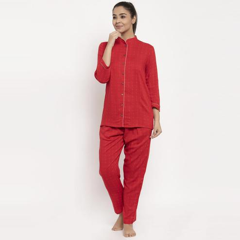 Aujjessa - Red Colored Checked Printed Rayon Night Suit