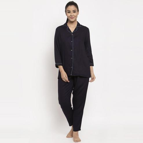 Aujjessa - Navy Blue Colored Solid Rayon Night Suit