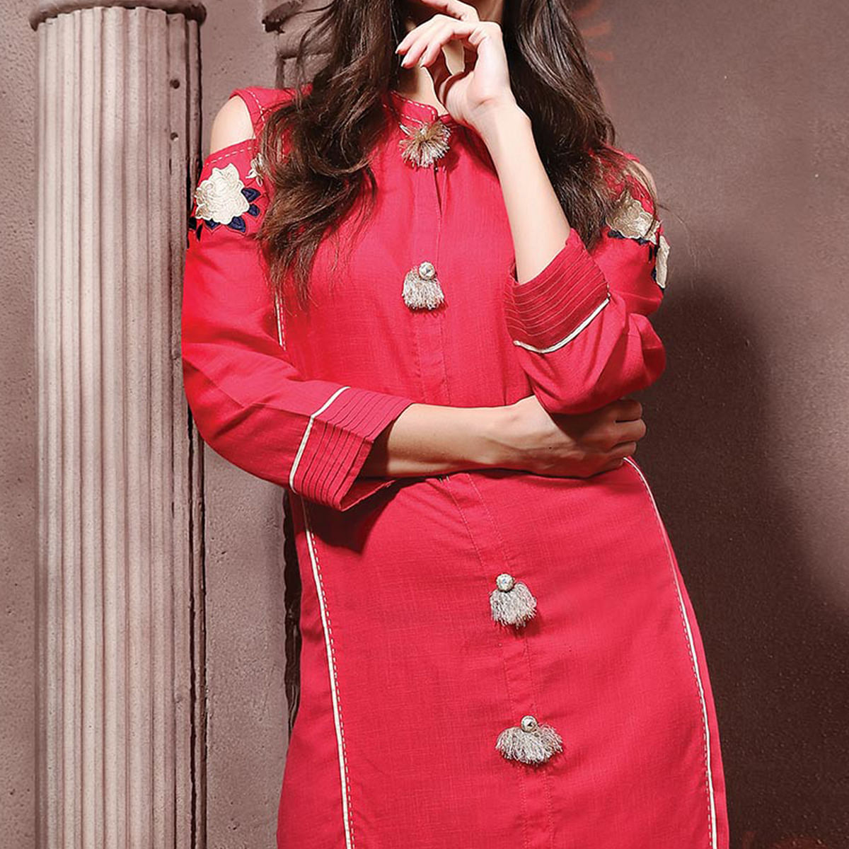 Lovely Pink Designer Embroidered Cotton Kurti