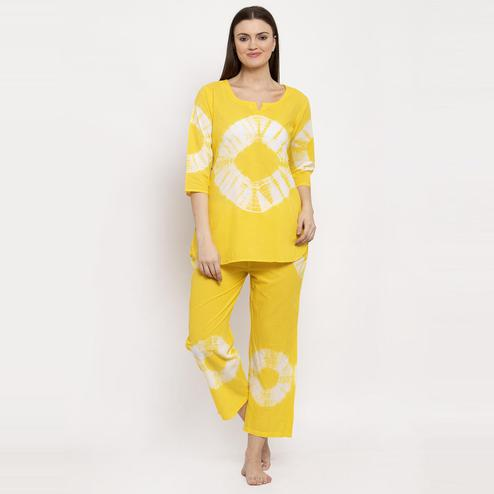 Aujjessa - Yellow Colored Printed Cotton Night Suit