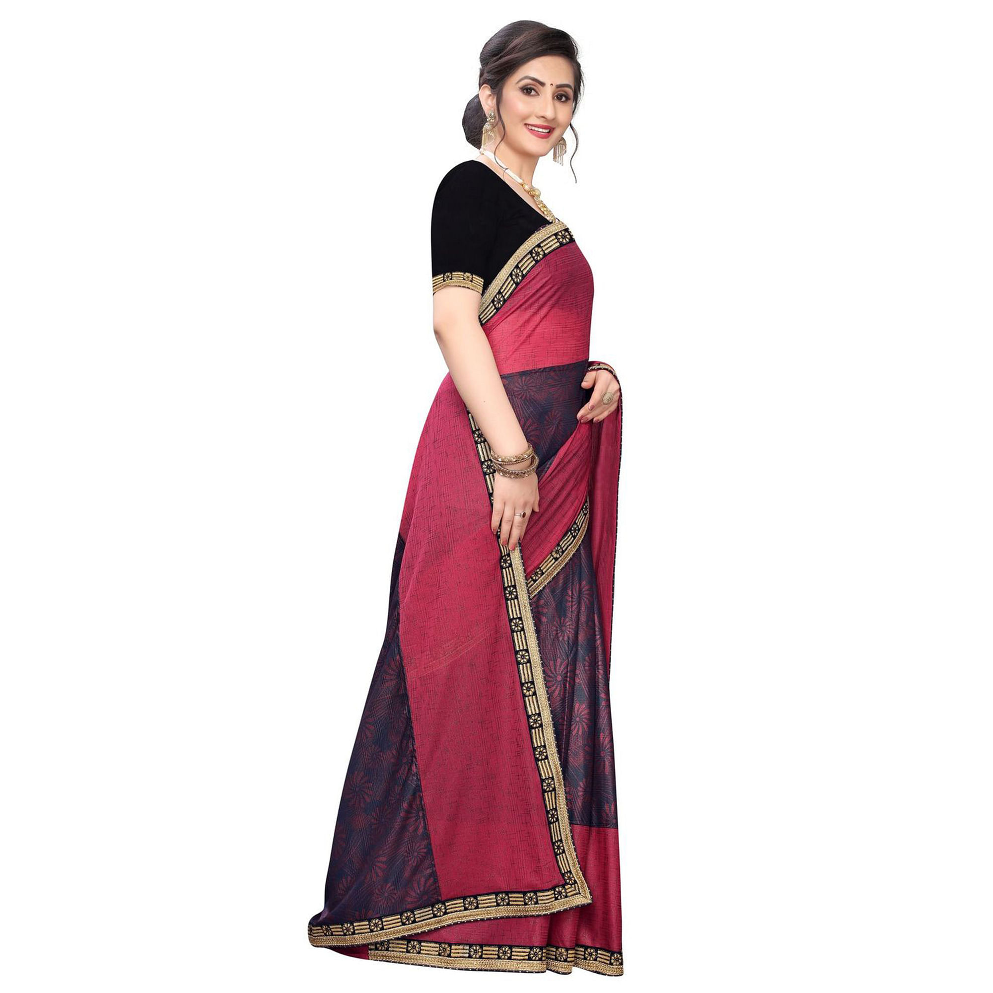 Captivating Pink Colored Party Wear Printed Lycra Blend Saree