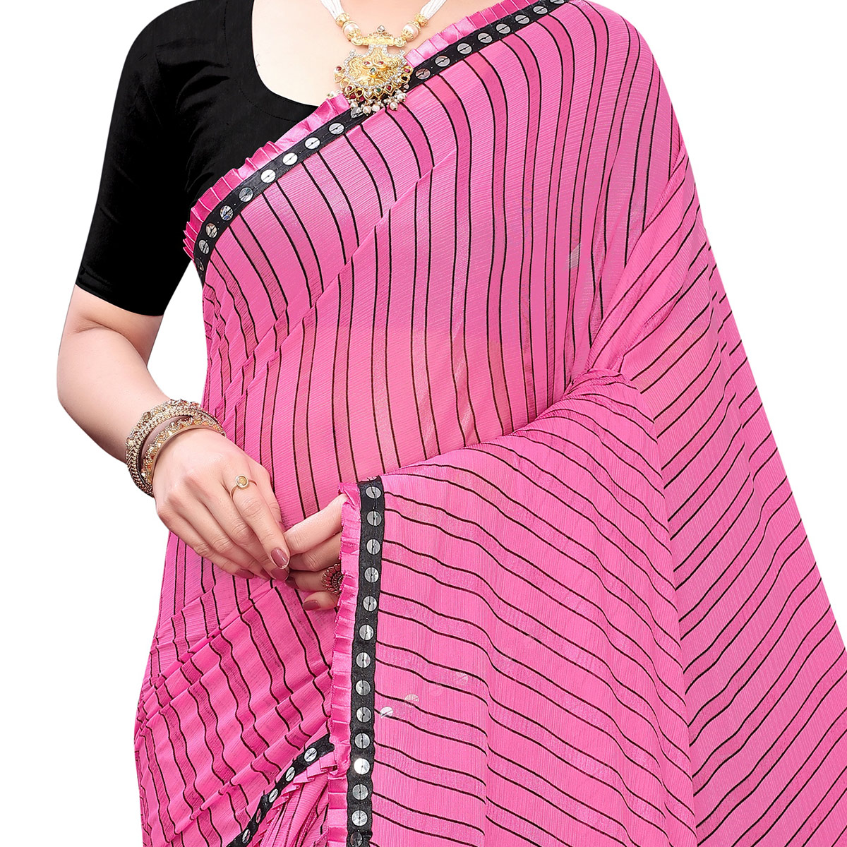 Desirable Pink Colored Party Wear Stripe Printed Malai Silk Saree