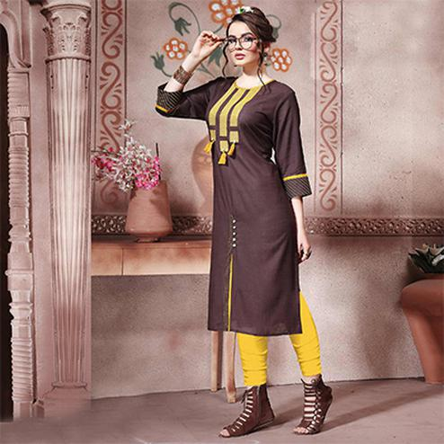 Mesmerising Brown Designer Embroidered Cotton Kurti