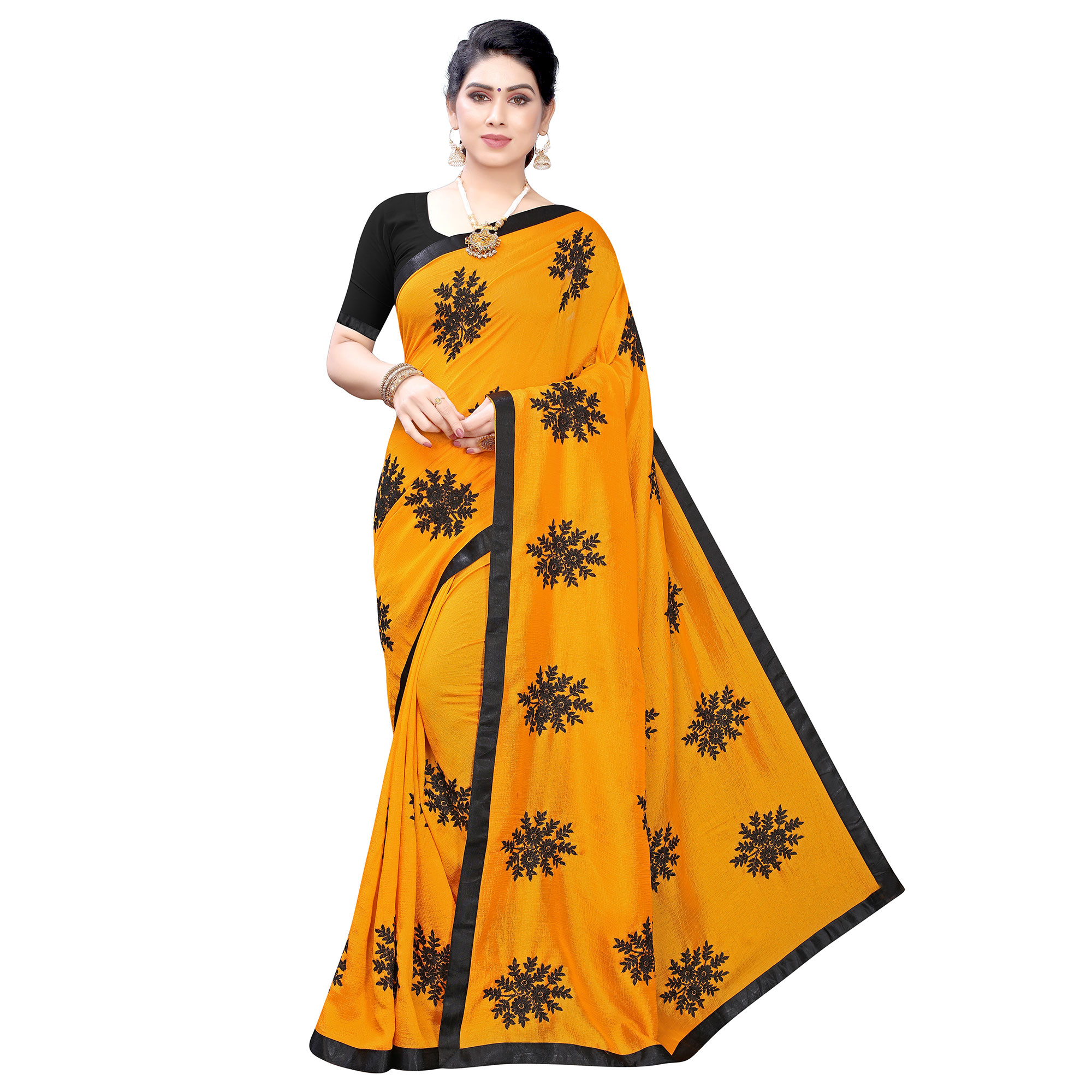 Energetic Yellow Colored Party Wear Embroidered Georgette Saree