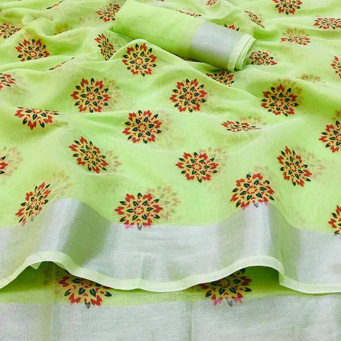 Engrossing Green Colored Festive Wear Printed Linen Saree