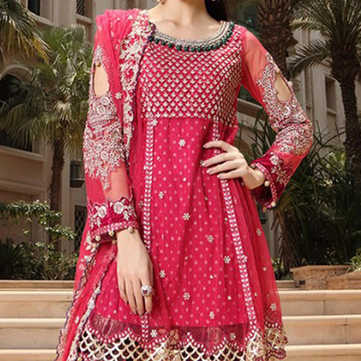 Hot Pink Embroidered Work Designer Suit