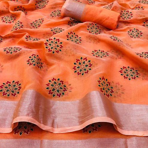 Captivating Orange Colored Festive Wear Printed Linen Saree
