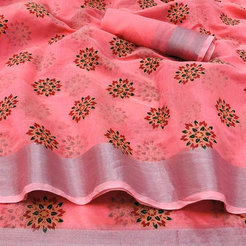 Innovative Peach Colored Festive Wear Printed Linen Saree