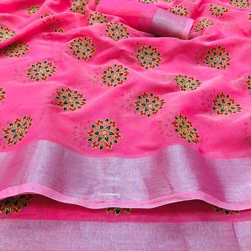 Eye-catching Pink Colored Festive Wear Printed Linen Saree