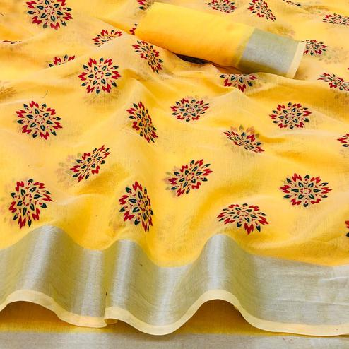 Blissful Yellow Colored Festive Wear Printed Linen Saree