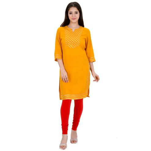 Aurish - Women Orange Colored Casual Wear Stripe Straight Rayon Kurti