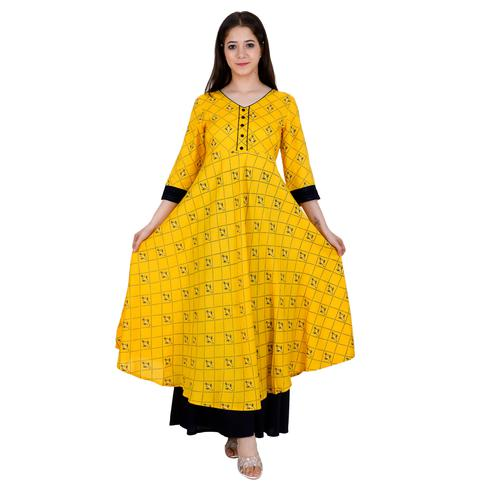 Aurish - Women Yellow Colored Casual Wear Printed Flared Rayon Kurti