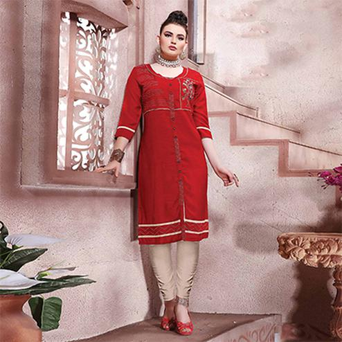 Flamboyant Red Designer Embroidered Cotton Kurti
