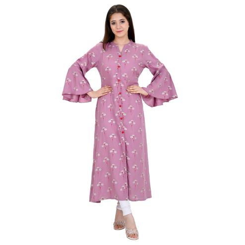 Aurish - Women Pink Colored Casual Wear Floral Printed Frontslit Rayon Kurti