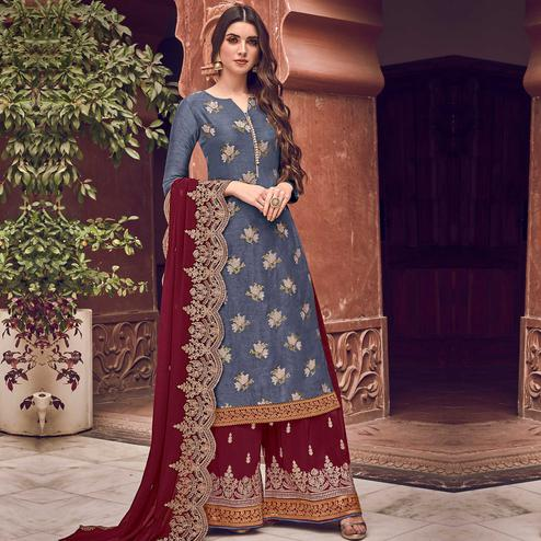 Stylee Lifestyle - Blue Colored Party Wear Floral Embroidered Dola Art Silk Dress Material