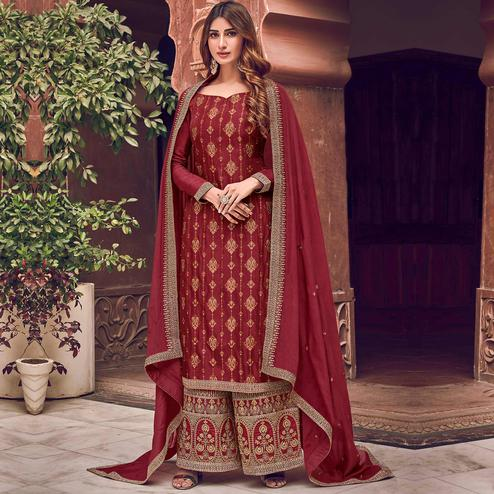 Stylee Lifestyle - Maroon Colored Party Wear Floral Embroidered Dola Art Silk Dress Material