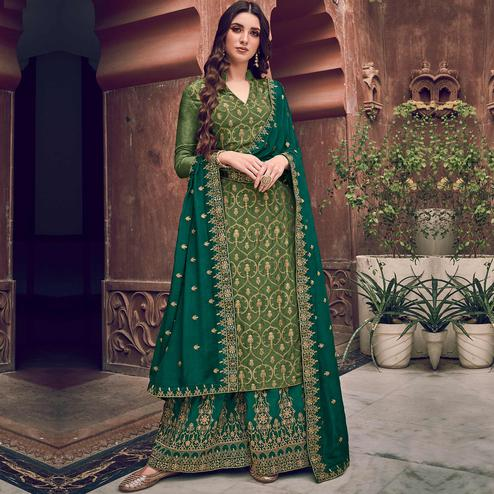 Stylee Lifestyle - Green Colored Party Wear Floral Embroidered Dola Art Silk Dress Material