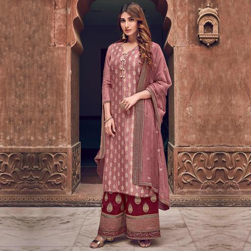 Stylee Lifestyle - Pink Colored Party Wear Floral Embroidered Dola Art Silk Dress Material