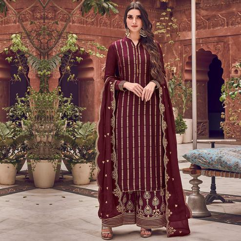 Stylee Lifestyle - Wine Colored Party Wear Floral Embroidered Dola Art Silk Dress Material