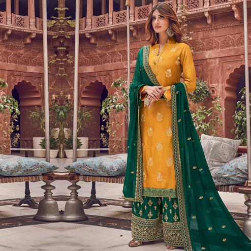 Stylee Lifestyle - Yellow Colored Party Wear Floral Embroidered Dola Art Silk Dress Material
