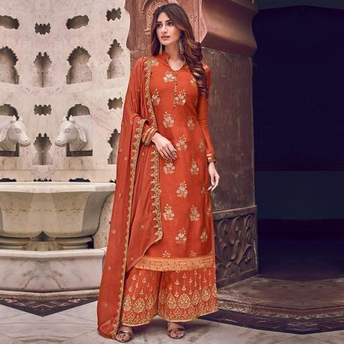 Stylee Lifestyle - Rust Orange Colored Party Wear Floral Embroidered Dola Art Silk Dress Material