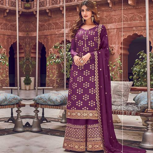 Stylee Lifestyle - Purple Colored Party Wear Floral Embroidered Dola Art Silk Dress Material