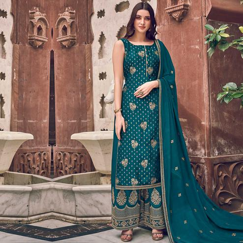 Stylee Lifestyle - Teal Green Colored Party Wear Floral Embroidered Dola Art Silk Dress Material