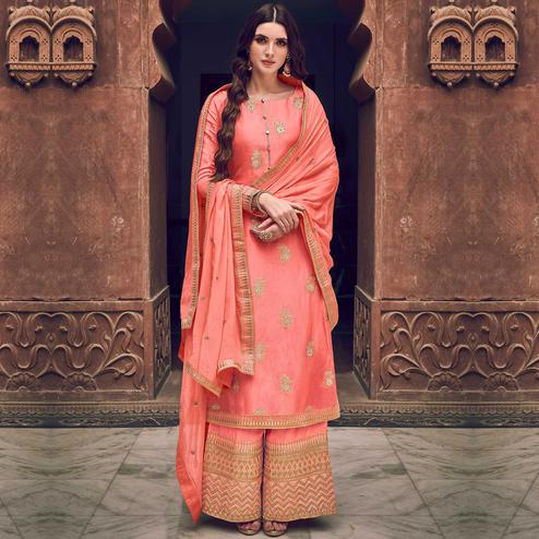 Stylee Lifestyle - Peach Colored Party Wear Floral Embroidered Dola Art Silk Dress Material