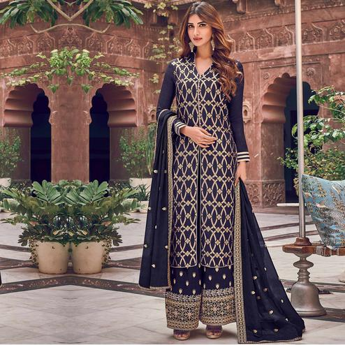 Stylee Lifestyle - Navy Blue Colored Party Wear Floral Embroidered Dola Art Silk Dress Material