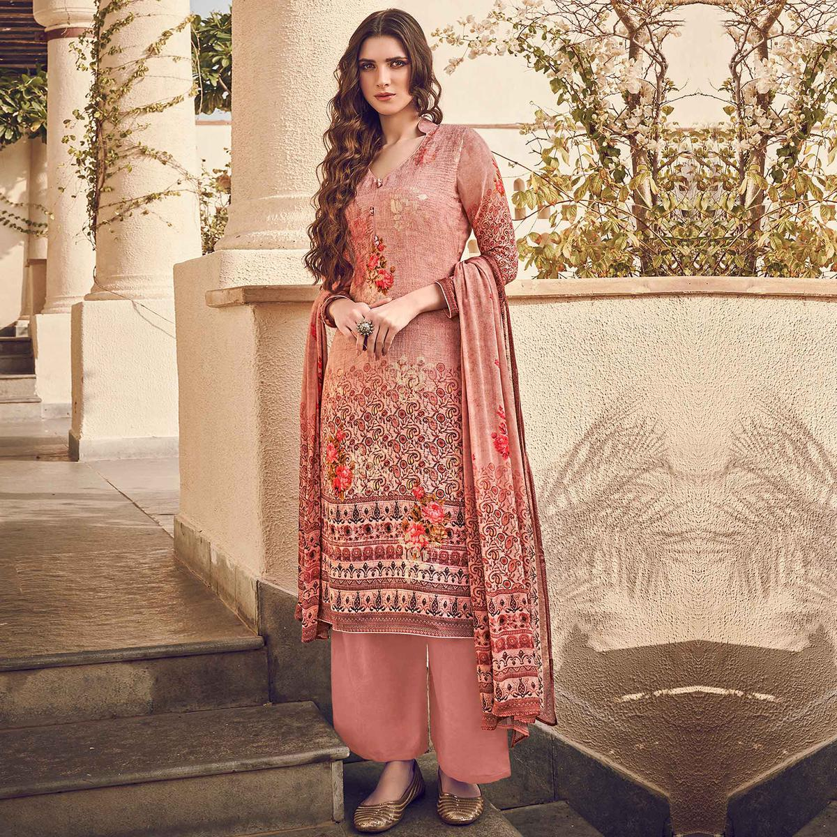 Stylee Lifestyle - Peach Colored Casual Wear Digital Printed Pure Silk Dress Material