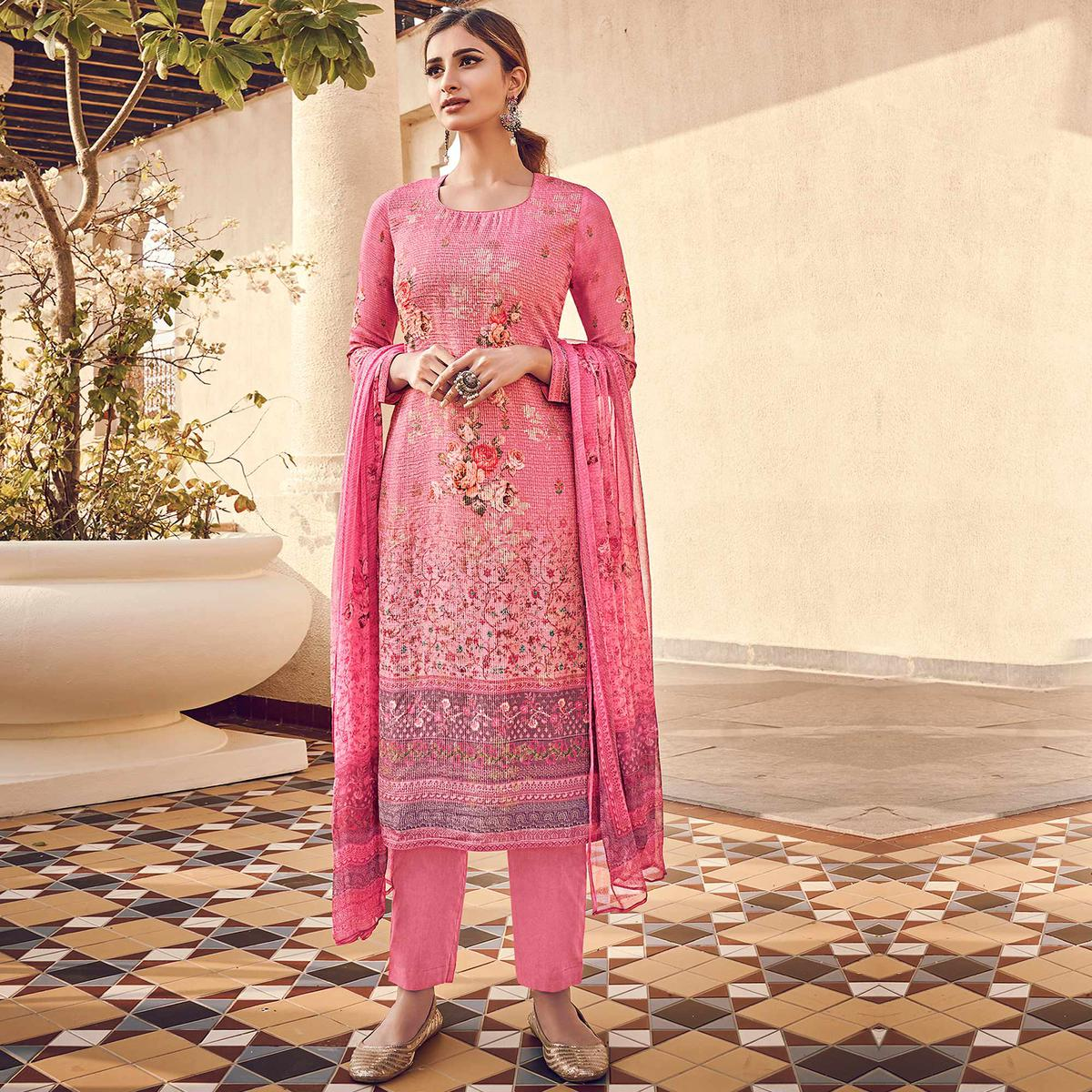 Stylee Lifestyle - Pink Colored Casual Wear Digital Printed Pure Silk Dress Material