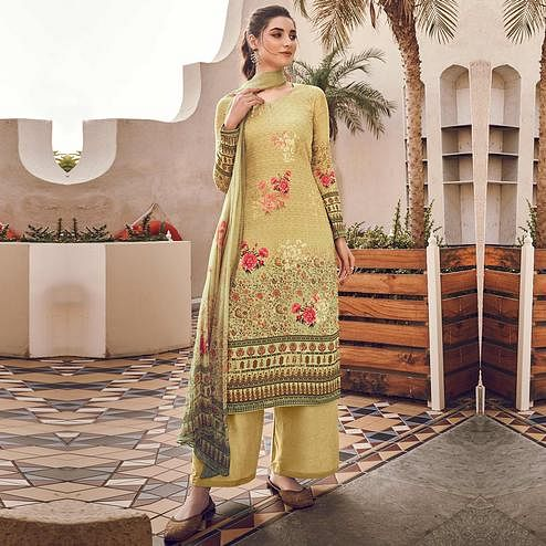 Stylee Lifestyle - Beige Colored Casual Wear Digital Printed Pure Silk Dress Material