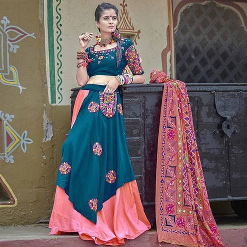 Classy Teal Blue Colored Party Wear Embroidered Soft Cotton Navratri Lehenga Choli